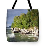 Morning Sun At Cave Point Tote Bag