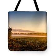 Morning Sun Over Farmland Tote Bag