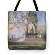 Morning Visitors To The Albert Memorial Oil On Canvas Tote Bag