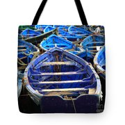 Moroccan Blue Fishing Boats Tote Bag