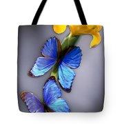 Morpho On Yellow Iris Tote Bag