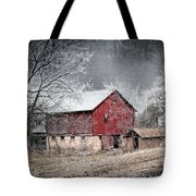 Morris County Red Barn In Snow Tote Bag