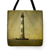 Morris Island Light Vintage Bw Uncropped Tote Bag