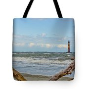 Morris Island Light With Driftwood Tote Bag