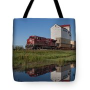 Train Reflection At Mortlach Saskatchewan Grain Elevator Tote Bag by Steve Boyko