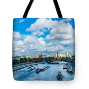 Moscow Kremlin And Busy River Traffic Tote Bag