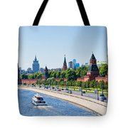 Moscow River And Kremlin Embankment In Summer - Featured 3 Tote Bag
