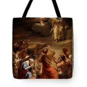 Moses Descends From Mount Siniai With The Ten Commandments Tote Bag