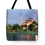 Mosque Lit Up At Dusk, Blue Mosque Tote Bag