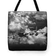 Mosquitos Above Clouds Black And White Version Tote Bag