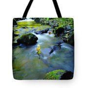 Mossy Rocks And Moving Water  Tote Bag