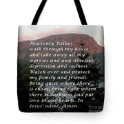 Most Powerful Prayer With Sunset And Moon Tote Bag