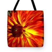 Mostly Orange Dahlia Flower Tote Bag