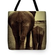 Mother And Baby Elephant In Black And White Tote Bag