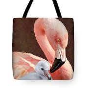 Mother And Baby Flamingo Tote Bag