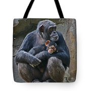 Mother And Child Chimpanzee Tote Bag