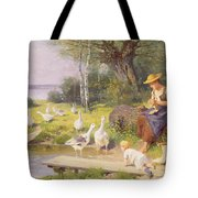 Mother And Child With Geese Tote Bag