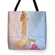 Mother And Child With Pink Tulips Tote Bag