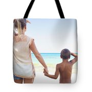 Mother And Son At Beach Tote Bag by Kicka Witte