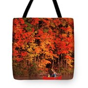 Mother And Son Canoeing Near Fall Tote Bag