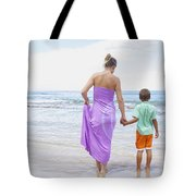 Mother And Son On Beach Tote Bag