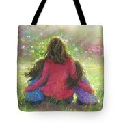 Mother And Twin Girls In Garden Tote Bag