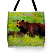 Mother Bear And Cub In Meadow Tote Bag