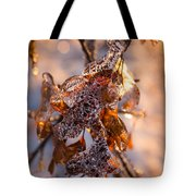 Mother Nature's Christmas Decorations - Golden Oak Leaves Jewels Tote Bag