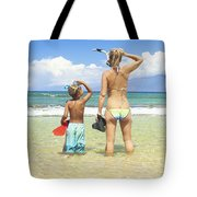 Mother Son Snorkel Tote Bag by Kicka Witte