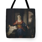 Mother Watching Her Child Tote Bag