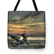 Motorbike At Sunset Tote Bag