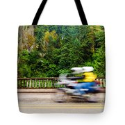 Motorcycle And Green Forest Tote Bag