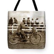 Motorcycle At Salinas California Rodeo Grounds Circa 1910 Tote Bag