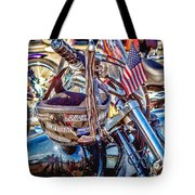 Motorcycle Helmet And Flag Tote Bag
