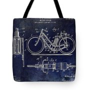 1903 Motorcycle Patent Blue Tote Bag