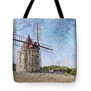 Moulin De Daudet Fontvieille France On A Texture Dsc01833 Tote Bag