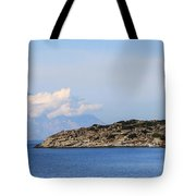 Mount Athos In Clouds View From Sithonia Greece Tote Bag
