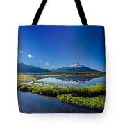 Mount Bachelor Lens Flare Tote Bag