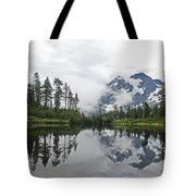 Mount Baker- Lake- Fir Trees And  Fog Tote Bag