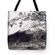 Mount Fuji Spring Blossoms Tote Bag