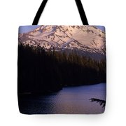 Mount Hood With Kids In Row Boat Silhouetted Tote Bag