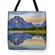 Mount Moran At Sunrise Tote Bag