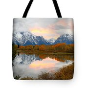 Mount Moran Reflection Sunset Tote Bag
