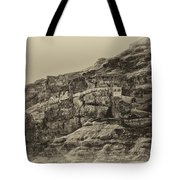 Mount Of The Temptation Monestary Jericho Israel Antiqued Tote Bag