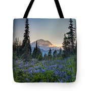 Mount Rainer Flower Fields Tote Bag