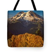 Mount Rainier At Sunset With Big Boulders In Foreground Tote Bag