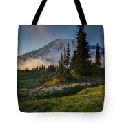 Mount Rainier Evening Fog Tote Bag