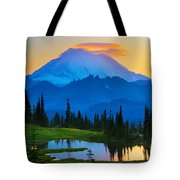 Mount Rainier Goodnight Tote Bag by Inge Johnsson
