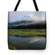 Mount Rainier Shrouded In Fog Tote Bag