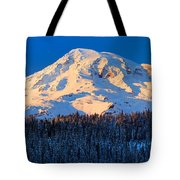Mount Rainier Winter Evening Tote Bag